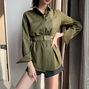 European and American military style waist lapel long sleeve shirt ID:
