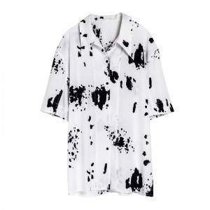Black and white ink painting cow spotted print European and American mid-length loose 3/4 sleeve shirt