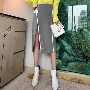 Button open fork high waist irregular skirt