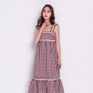 New in spring a small cherry cherry plaid dress for vacation