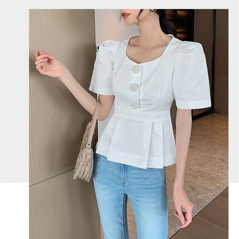2020 new square neck pearl buckle puff sleeve sleeve waist slimming top Featured Image