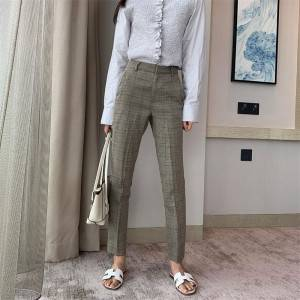 Mid-waist slim gray check children's straight trousers wild feet casual pants