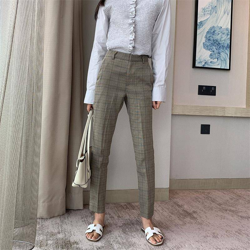 Mid-waist slim gray check children's straight trousers wild feet casual pants Featured Image