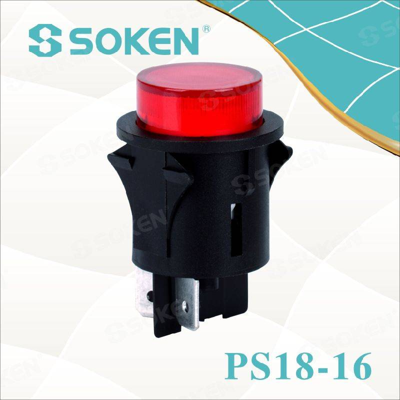 LED 1 Pole Push Button Switch në të kuqe, jeshile, Orange