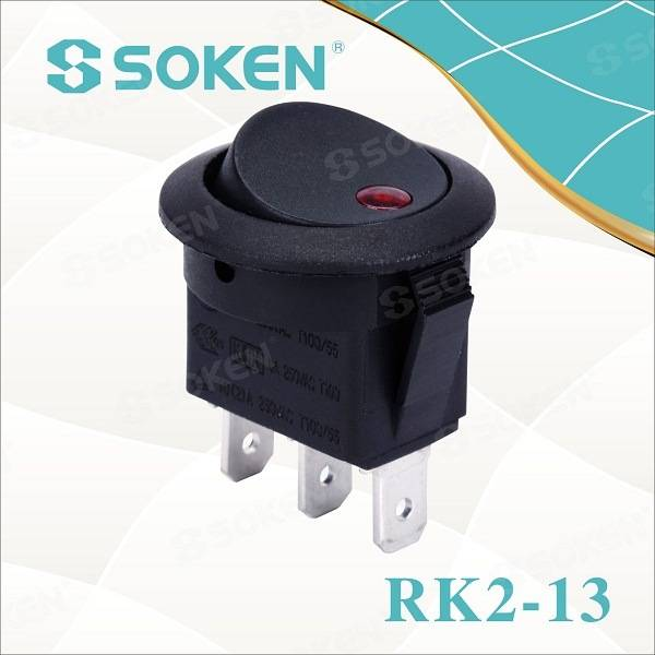 Red DOT Rownd Rocker Switch / Bach Gwiail 250VAC 10A