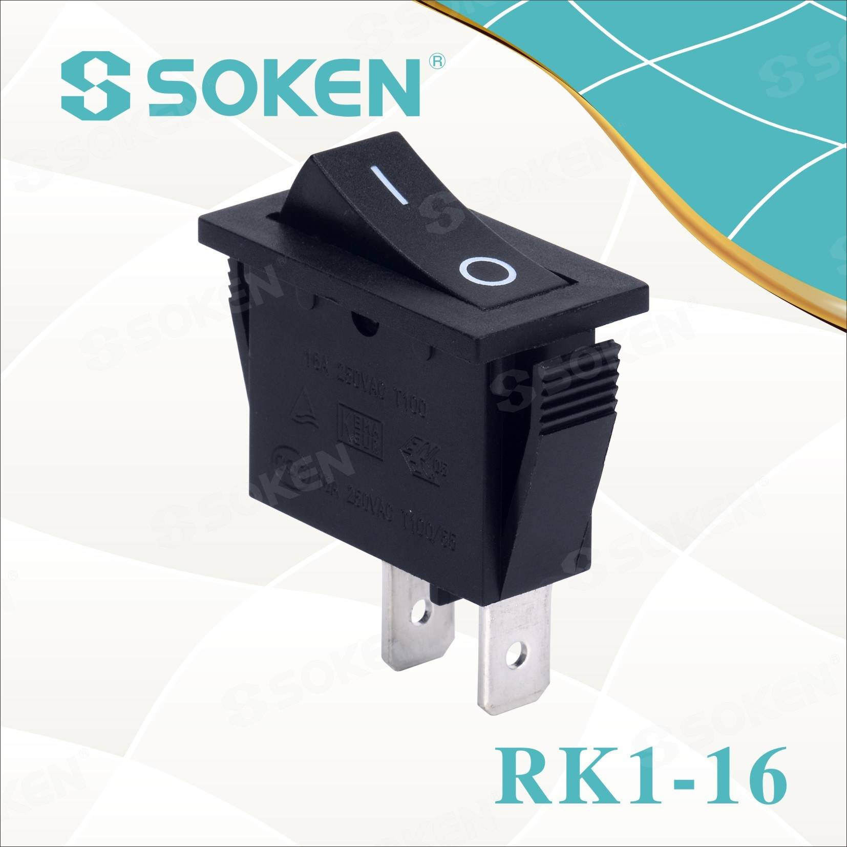 Soken Rk1-16 1x1 B / R sur for Rocker Ŝaltilo