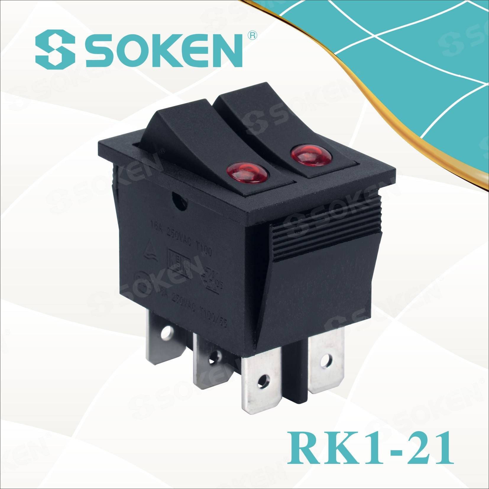 Soken Rk1-21 Lens on off Illuminated Double Rocker Switch