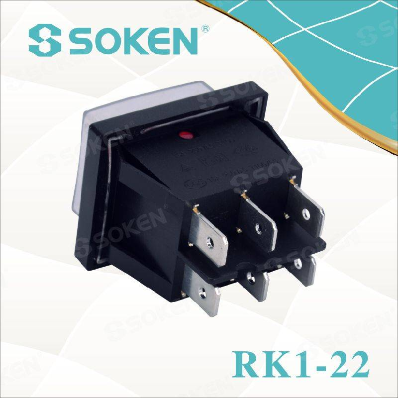 Soken Rk1-22 1X1X2n on off Waterproof Illuminated Double Rocker Switch