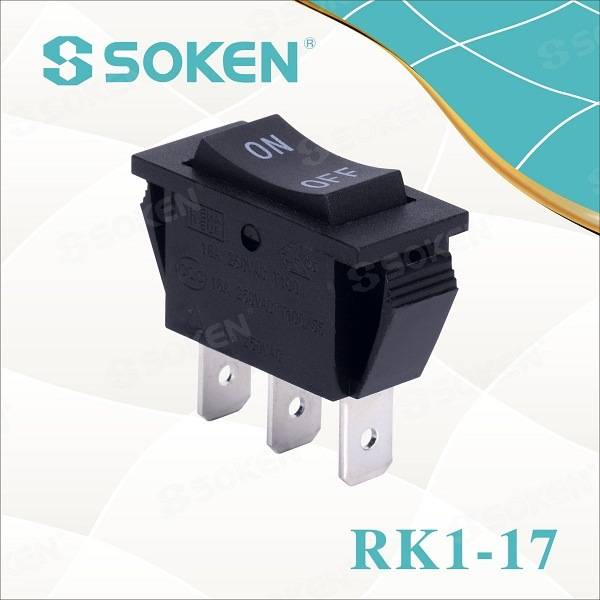 UL 16A 250VAC T100 / 55 Switch Rocker off Siyahıda
