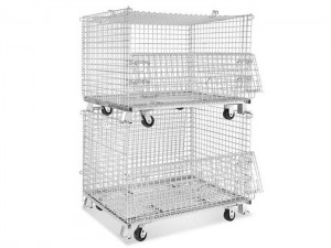 Steel Wire Mesh Container with Caster