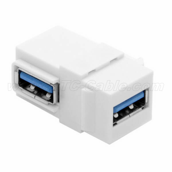 Wall plate Keystone Jack USB 3 Type C Female//C Female  Coupler Type  White