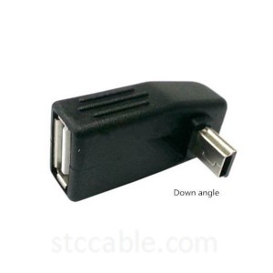 90 Degree Up & Down Angled Mini USB 5pin Type B male to USB Female OTG Adapter