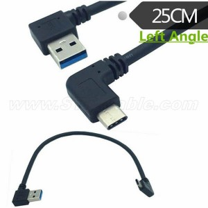 Left Angle USB 3.0 Type-A to 90 degree USB3.1 Type-C Data Sync & Charge Cable