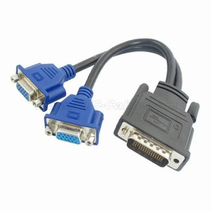 DMS-59 Pin Male to Dual VGA Female Y Splitter Adapter Cable