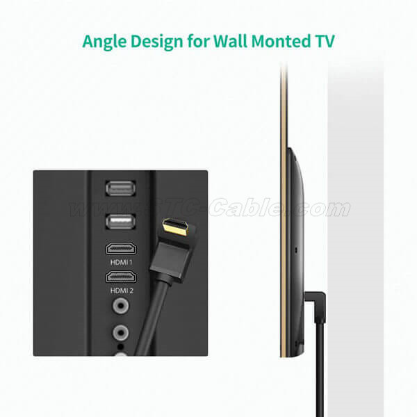 Right Angle Cable 270 Degree Elbow Flat 4K//Ultra HD//3D//1080p HDMI Cable 6ft