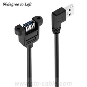 Left angle USB3.0 Extension Cable With Screw Panel Mount