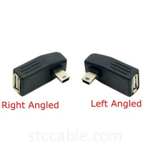 Mini USB B 5Pin Male to USB2.0 A Female Left or Right angle OTG Host adapter