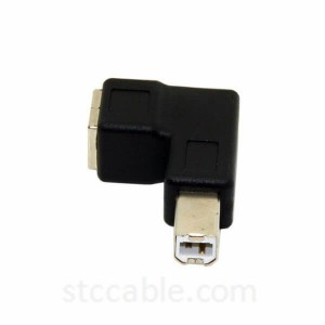 Right Angled 90 Degree USB 2.0 B Type Male to Female Extension Adapter