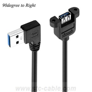 Right angle USB3.0 Extension Cable With Screw Panel Mount