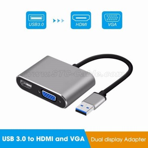 USB3.0 to VGA HDMI 1080P Video Graphics Cable Adapter Converter