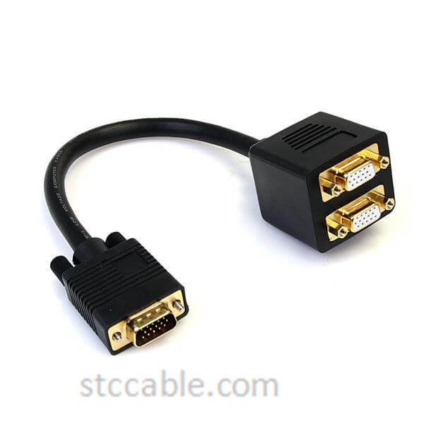 1 ft VGA to 2x VGA Video Splitter Cable – male to female