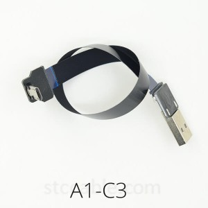 USB 2.0 male to Micro USB down Angled FPV 3A monitor Super Soft Ultra Thin Flat FPC charging AV output flexible Cable
