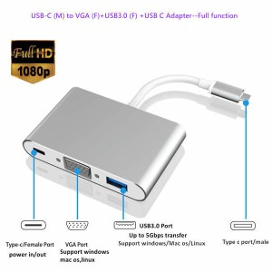 USB-C to VGA USB PD HUB Full Function
