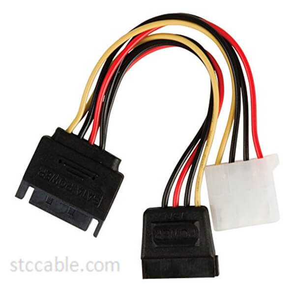 0.15m SATA 15 Pin Male to Molex Female + SATA 15 Pin Female Internal Power Adapter Cable – Multicolour