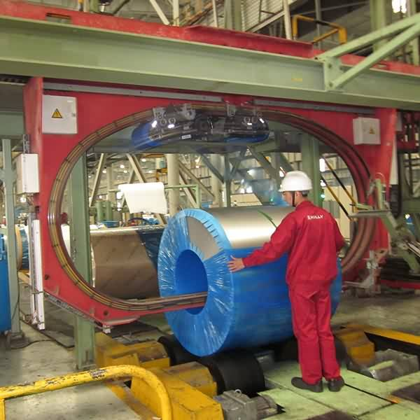 Automatic packaging of steel coil