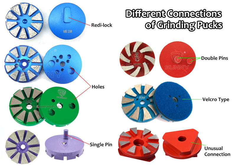 diamond grinding pucks with different connections