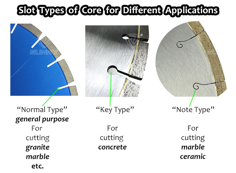 slot types of diamond saw blade for different materials