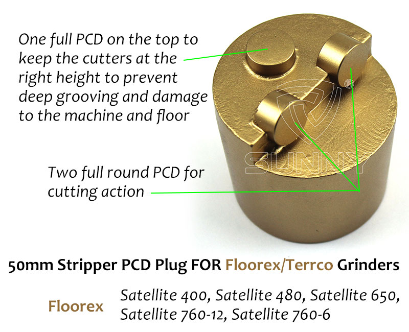 50mm Floorex Stripper Pcd Plug For Removing Floor Coatings