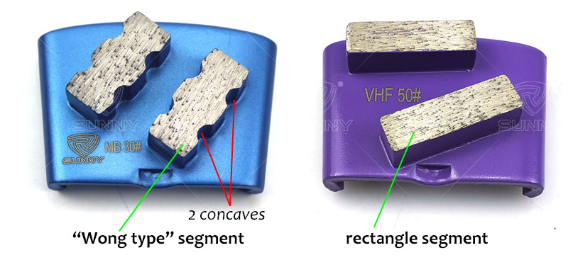 wong type diamond segment VS rectangle diamond segment