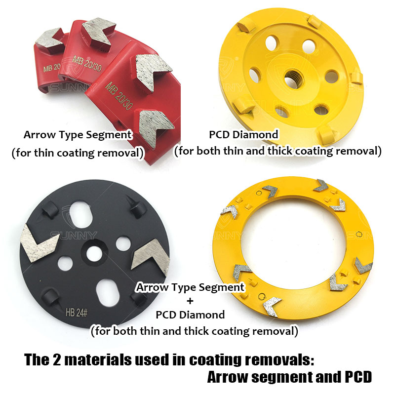 arrow segment and pcd used for coating removals