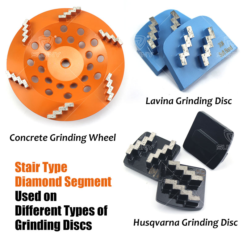 stair type  diamond segment on  different concrete grinding discs