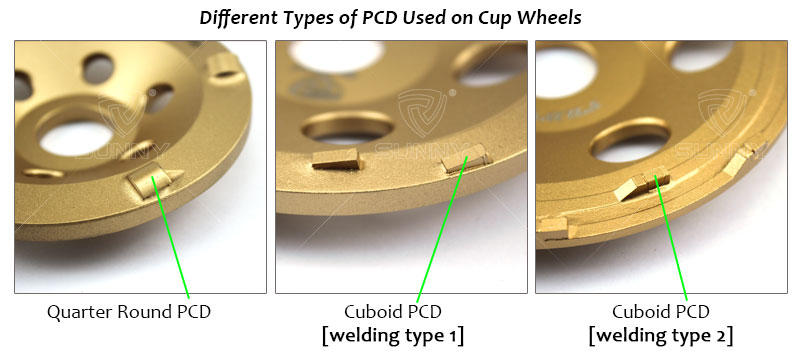 different types of PCD used on cup wheels