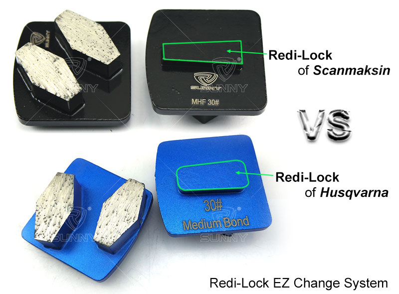 Redi lock system of Scanmaskin and Husqvarna concrete grinding disc