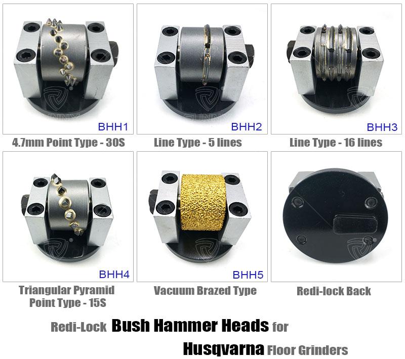 redi lock bush hammer heads for husqvarna  floor grinders