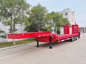 3 axle low flatbed semi-trailer