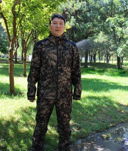100% polyester camo hunting jacket and pants suits with membrane
