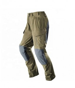 90% Polyester 10% Nylon with membrane  Knee & back with rip-stop material durable