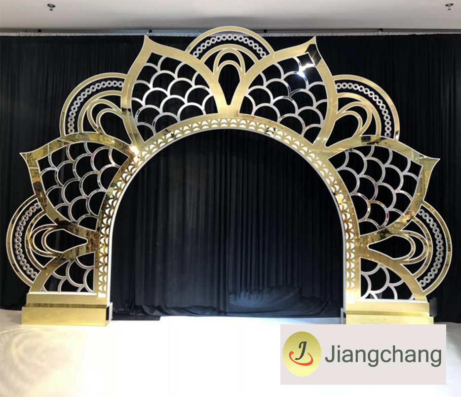 Golden king and queen sunflower back drop for weddings for event  SF-BJ14 Featured Image