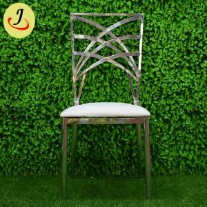 Modern style cross back stainless steel wedding chair   SF-SS040