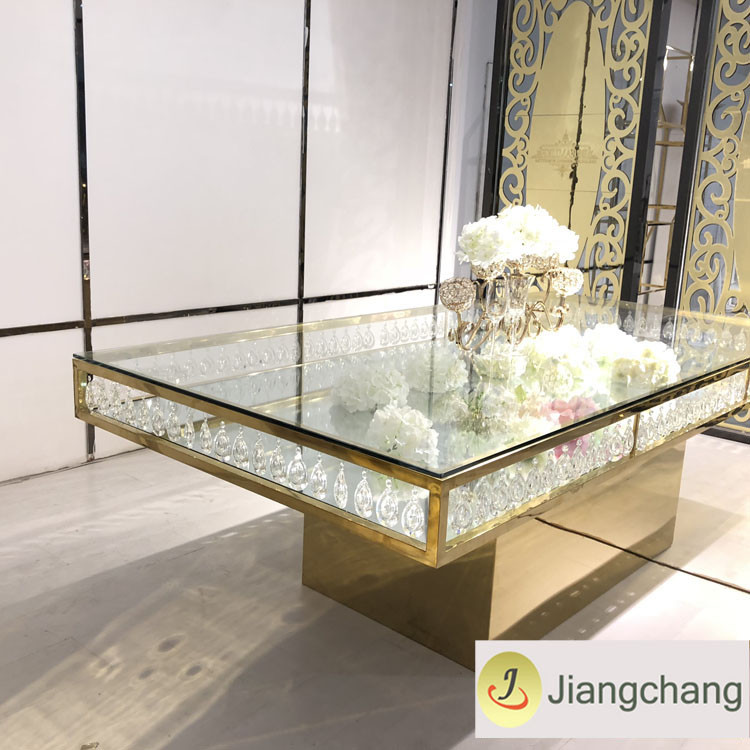 Crystal chandelier glass top stainless steel table SF-SS037 Featured Image