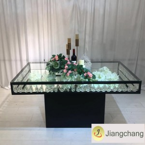 Crystal chandelier glass top stainless steel table SF-SS037