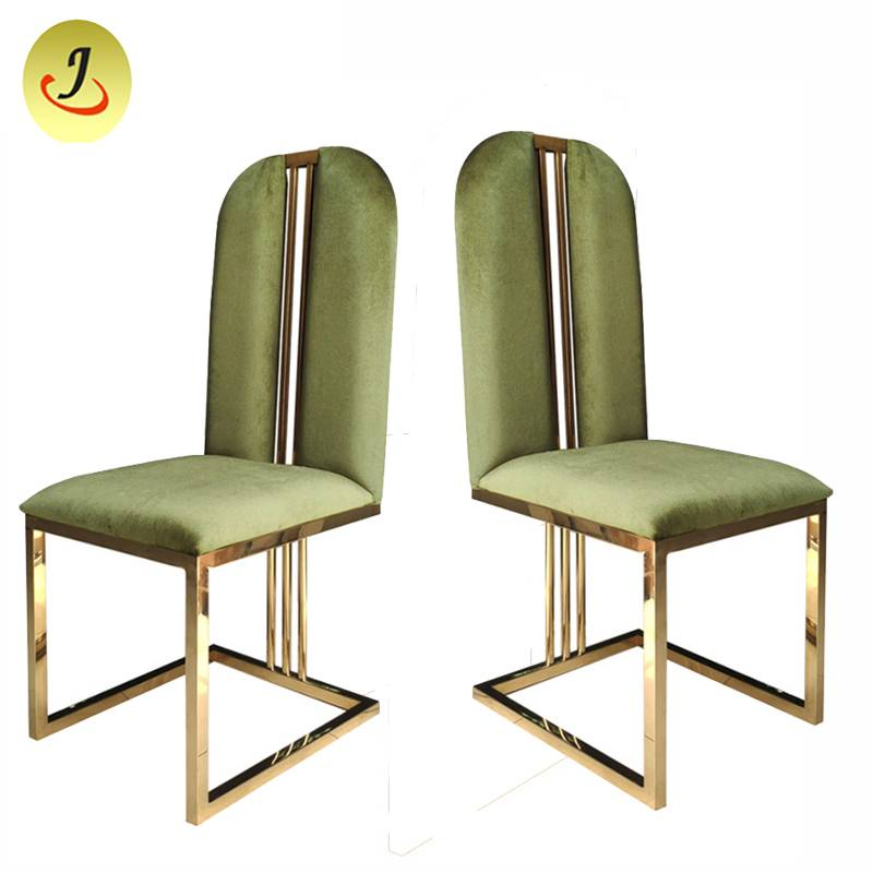 Luxury round back golden flannel wedding hotel stainless steel dining chair   SF-SS036 Featured Image