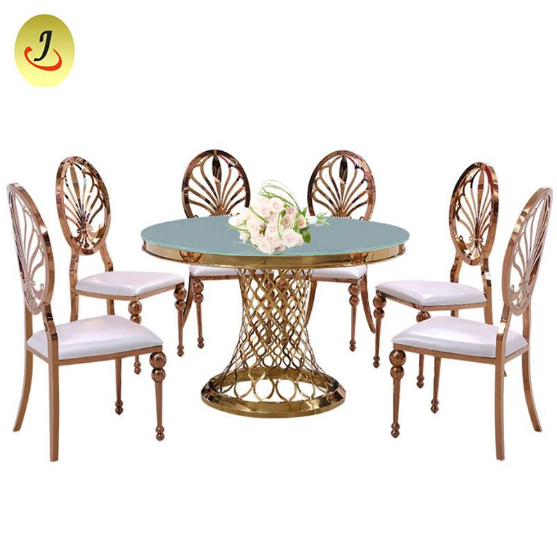 Romanti frame rectangle stainless steel golden glass event wedding table  SF-SS011 Featured Image