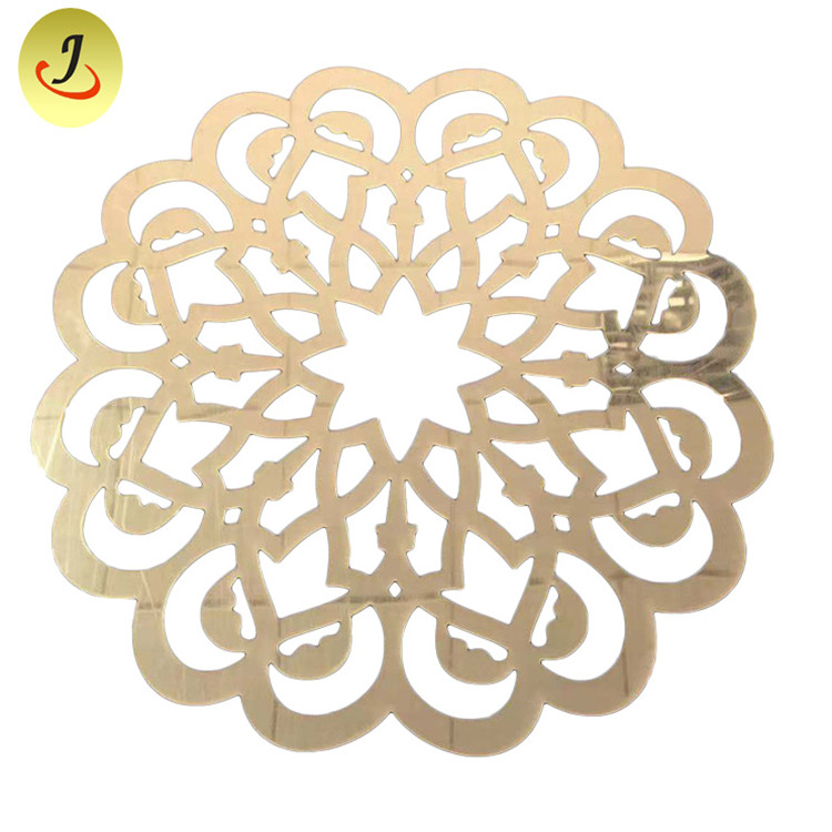 Factory Flower New Arrival Design PVC Placemat/Gold and Silver Round PVC Table Mat /Acrylic Mirror Dish Mat SF-MMD01 Featured Image