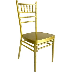 China Manufacturer for China Restaurant Dining Wedding Furniture Latest Wholesale Stacking Gold Aluminum Steel Hotel Silla De Banquete