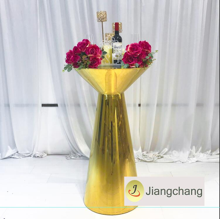 Wedding Furniture Events Stainless Steel High Bar Table with Glass Top SF-MB02 Featured Image